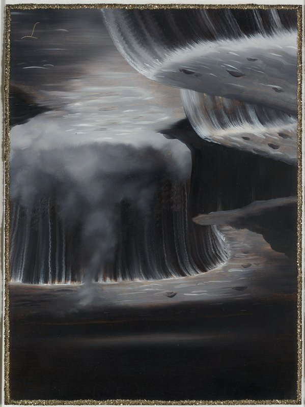 dark image in greys, white and black of waterfall with black sky; line of gold glitter around edge of sheet
