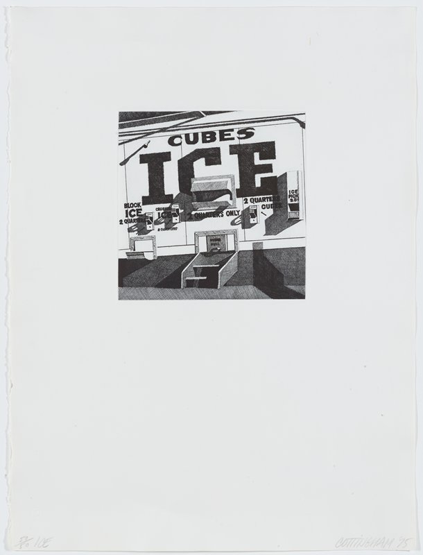 ice dispensing machine with many words and chutes; black and white
