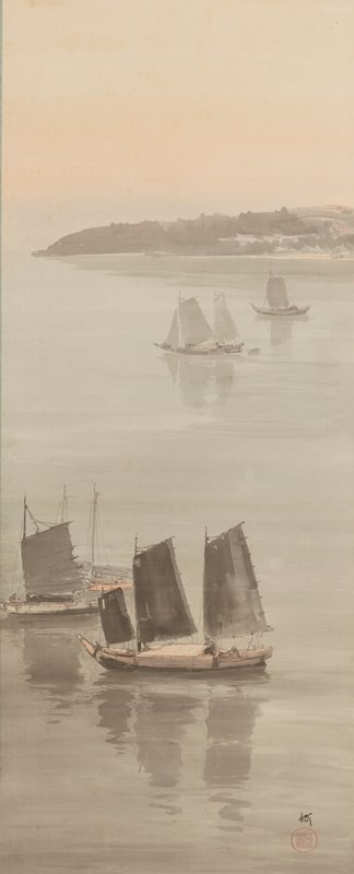 four Chinese sailboats on calm water with grey peninsula at horizon line at top; shades of grey, pastel pink and pale blue