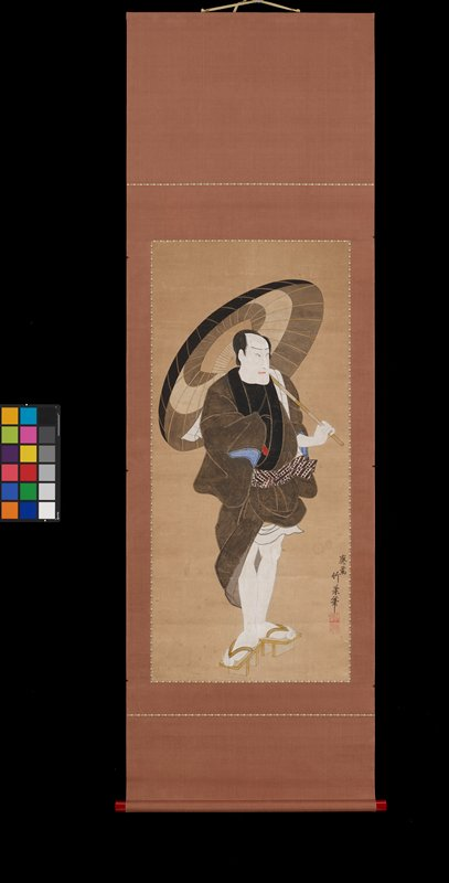 a male figure stands with a parasol in his left hand; he has a bald pate, a kimono that is shorter in front and exposes his legs; and he bears his teeth slightly