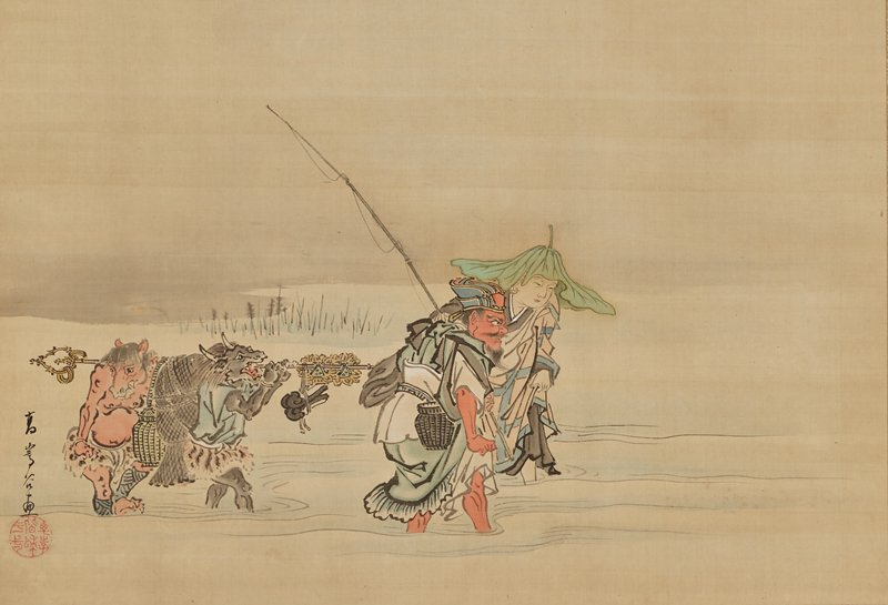a man and a woman wad through water, fishing, followed by a personified horse and ox carrying a long bar off of which supplies hang