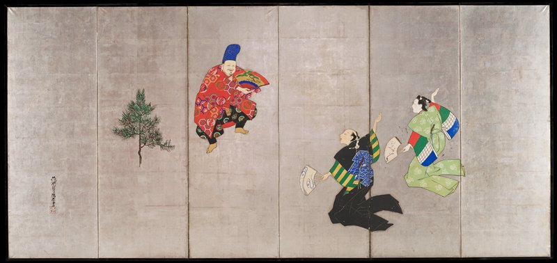 three figures set against a silver background in various poses; from L to R, a smiling man in a tall blue hat and red kimono dances with a fan; a kneeling figure in black and another in green gesture toward him with right arms extended up and back and left arms extended down, their hands grasping fans; a lone pine frond decorates the second panel from the L