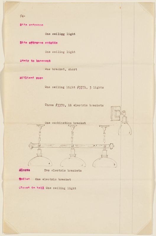 Page 4 of proposal for lighting fixtures for the residence of H.F. Legg, Minneapolis, by John S. Bradstreet & Co., Minneapolis Typewritten descriptions and numbers and graphite drawings of lighting fixtures.