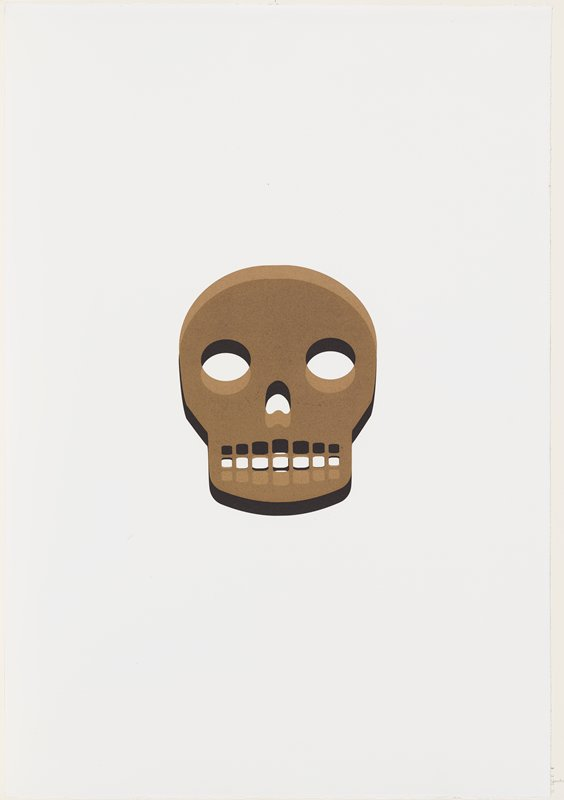 stylized image of skull; black and two shades of tan