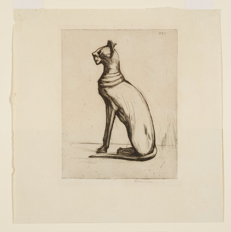 seated slightly stylized cat in profile from PL side, with rings around its neck