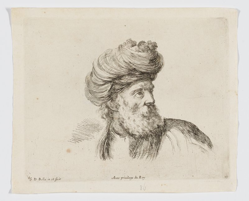 head of an older man with a thick wavy beard, wearing a turban made of swirling lines, with his head turned toward PL