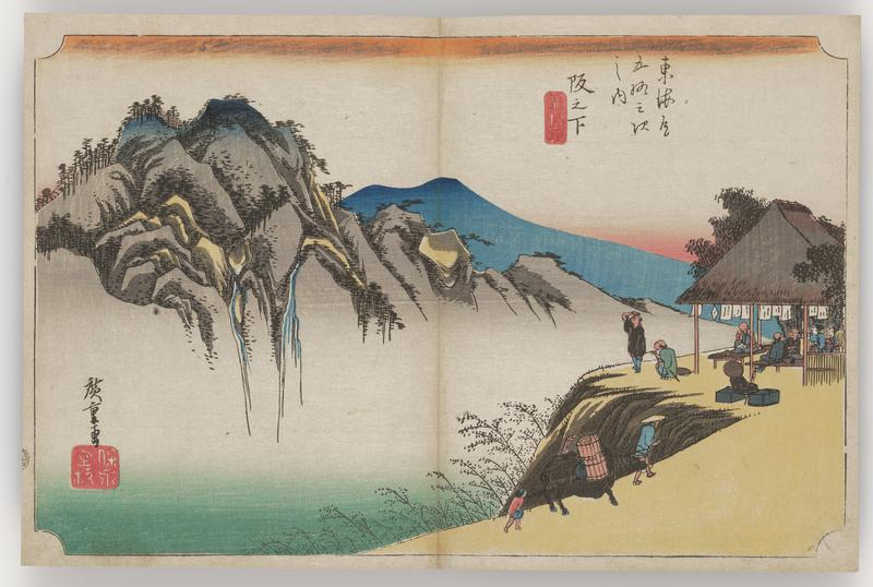 prominent mountain with waterfalls and mist at L; a couple of travelers and a horse walk on a cliff-side path at R; small open-walled building at R