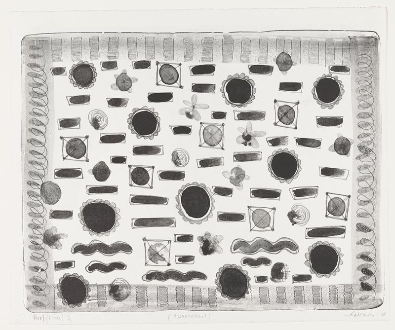 recto: abstract design; looping borders on sides; top border has alternating bars; bottom border has bars with wavy edges; rows of round, floral-like forms--larger forms with dark centers and smaller daisy-like forms--and horizontal rectangles, ovals and wavy forms; some circles inside squares with X's on top; verso: abstract image printed in green; rectangle split into three triangles with diagonal lines; green spots and painterly, smeary areas