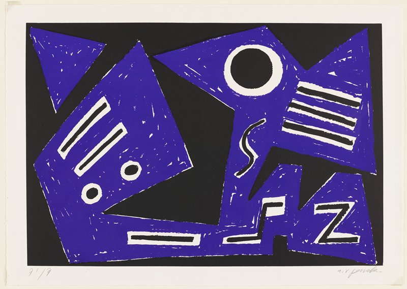 abstract image; printed in two colors--purple and black; black ground; geometric purple form with purple triangle in ULC; black circles, lines, S-curve, zigzags on top of purple form