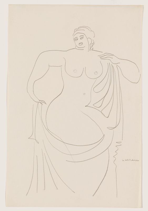 simplified line drawing of nude woman with small head; PR arm bent at elbow and pointed downward; PL hand on shoulder; drapery folds held in each hand and covering lower legs; wide hips turned toward PL
