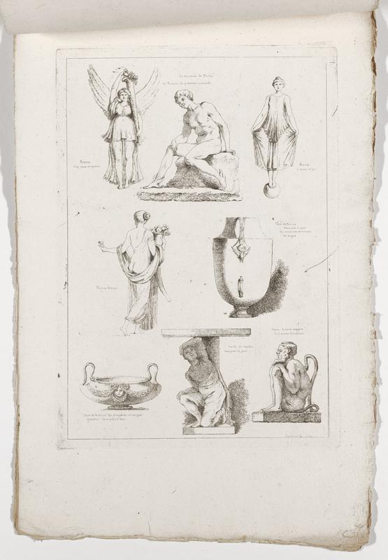 eight images (clockwise from top left): standing winged female figure holding a cornucopia, nude seated Hermes, woman standing on a sphere holding her skirt in each hand, vessel with relief bird and head, seated bearded man in profile with long curling tail, figure crouching on the base of a table beneath tabletop, two-handled vessel with head and garlands, standing woman seen from back with draping garments, holding a vessel with flowers; 2016.106.4.7-12 received bound together (stitched at top with string)