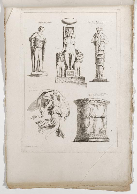 five images (clockwise from top right): standing Egyptian figure with a snake wrapped around body, drum-shaped column with frieze of women in a line, each holding the garment of the woman in front of them, winged figure with a three-tiered garment holding a looping drapery over her head, standing woman holding her garment hem up to her lower abdomen exposing her legs and genitals, seated Egyptian nude woman flanked by pair of lions fountains with water coming out of their mouths; 2016.106.4.13-18 received bound together (stitched at top with string)