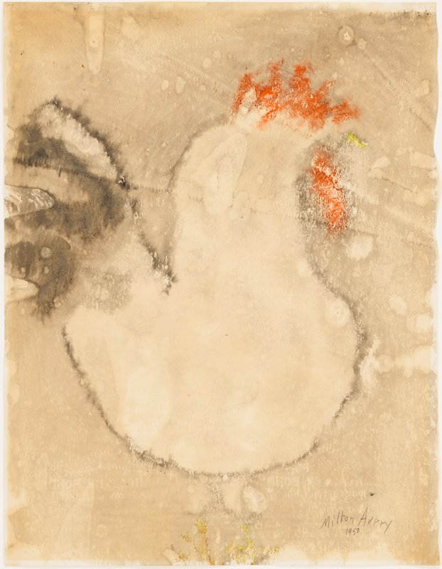 simplified image of a white rooster with a red comb and waddle, black tail feathers and yellow beak and feet; mottled gray background