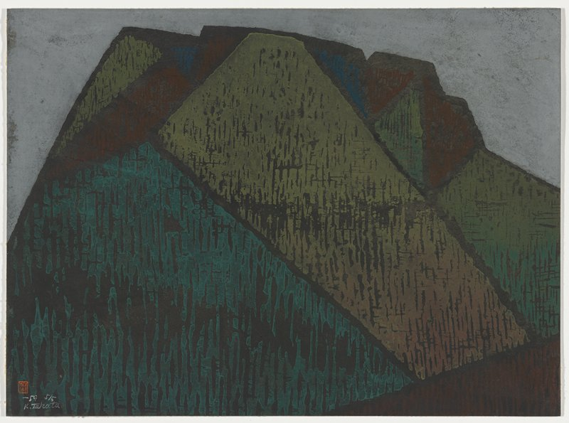 abstracted image; geometric shapes forming jagged mountain peak; dark mottled greens, tan, brown, blue with grey mottled sky