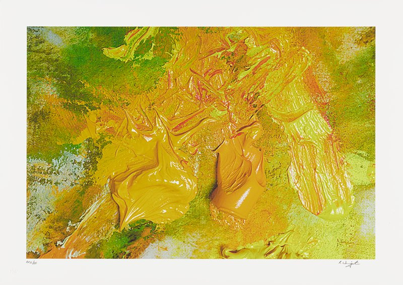 abstract image; green, yellow, red and orange pigments resembling brush strokes; two larger orange sections in lower center
