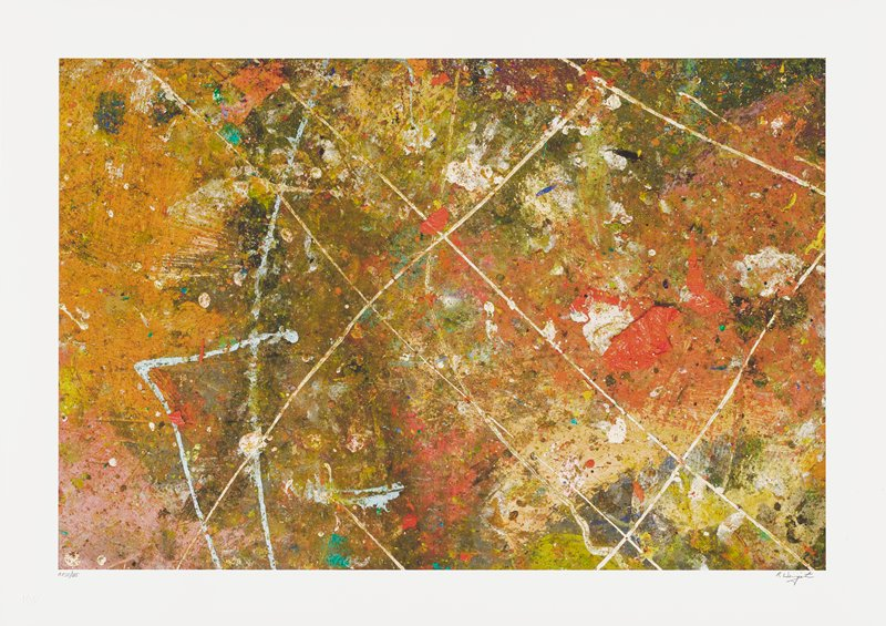 abstract image; multicolored pigments in splatters and mottled sections; overlapping diagonal lines in white and light blue