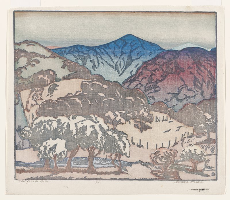 landscape in muted colors; blue, green and dark red mountains in distance; tan/orange mountains in middle ground; trees in foreground