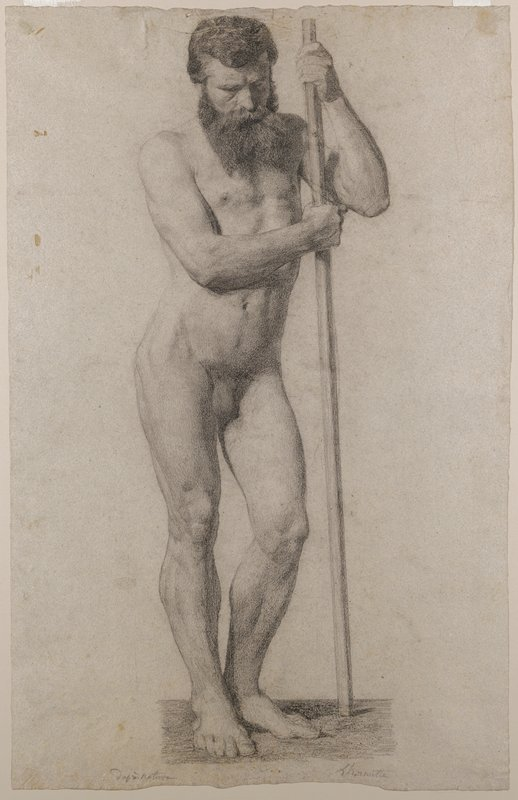 standing bearded nude male figure holding onto a vertical pole with both hands; pole is in front of man's PL arm; slightly contrapposto pose; received matted