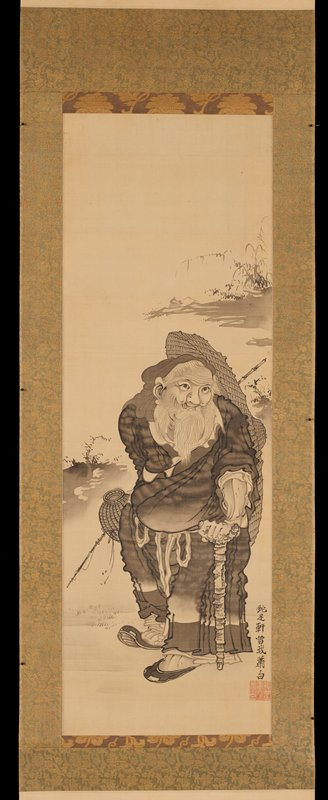 black ink on paper; image of bearded man wearing long robe in middle center; leans on cane with PL hand; basket and fishing rod in unseen PR hand; large flat woven umbrella carried on back; shading and foliage along upper right and middle left edges; blades of grass in lower left quadrant; untranslated characters in black ink along lower right edge; red stamp in LRC