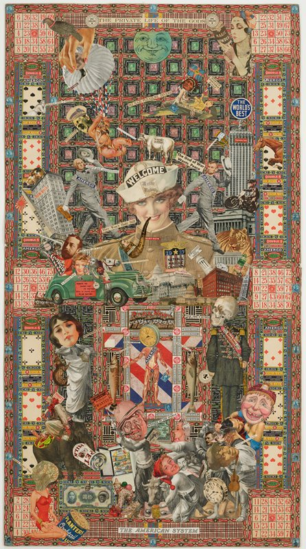 "paper collage with printed photographs, fragments of text, Bingo cards, playing cards, cigar bands and cancelled stamps; some painted elements around stamps at top and behind two standing figures in lower quadrants; overall composition with stamps in background grid at top; playing cards and Bingo cards around edges and five vertical figures (three human figures and two fish) above figures at bottom; head and shoulders of a woman wearing a uniform and a sailor's hat with a pipe between her teeth at center; ""THE PRIVATE LIFE OF THE GOD"" at top center; ""THE AMERICAN SYSTEM"" at bottom center"