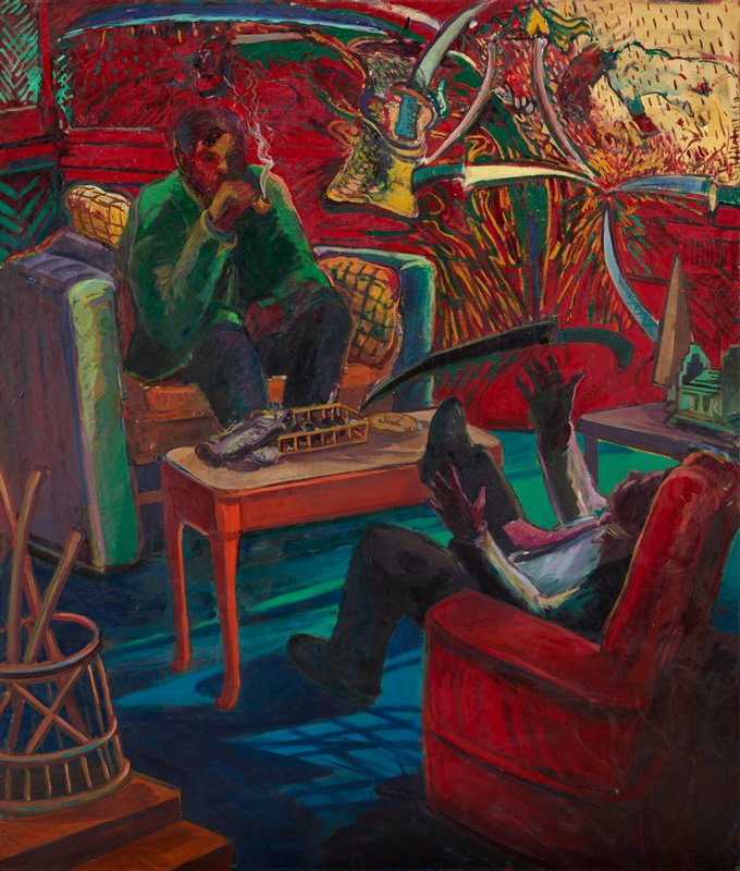 man in green coat sitting on a chair at L smoking a pipe across from a man in red chair; orange table at C with assorted objects; man in red chair is in somewhat dramatic pose, with PR foot extended and hands in air, and knife overhead; knives or swords against red and red droplet background URQ; framed