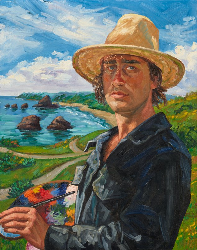 3/4 portrait of a man wearing a straw hat, outdoors against a background with ocean inlet and prairie; artist's paint palette in PR hand, brush in PL hand; wooden slat frame