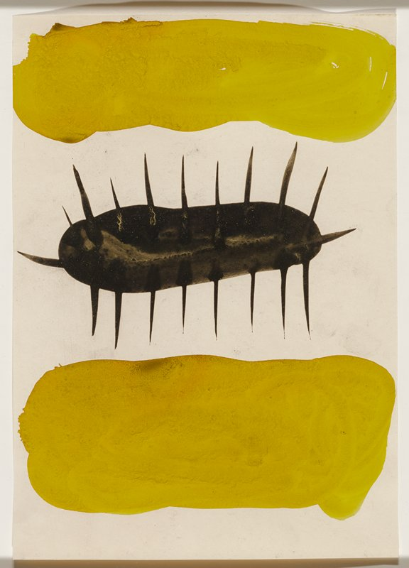 "abstract image; two horizontal painterly yellow forms, one above and one below a horizontal black ovoid shape with linear ""spikes"""