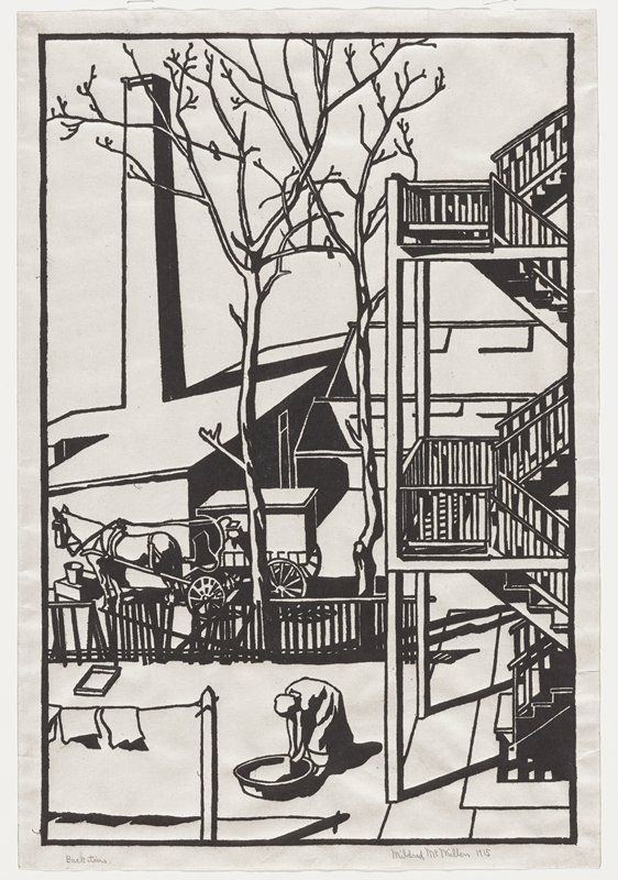 scene of backyards with zigzagging stairs at right; woman bending over a tub in center foreground; clothesline in LLC; wagon with horse at left middle ground; two bare trees with birds