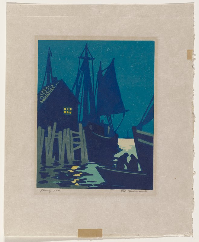 night harbor scene with blue silhouettes of two figures in a small boat in LRC; building with light in upper floor window at left, with large sailing ship along side; light reflected on water