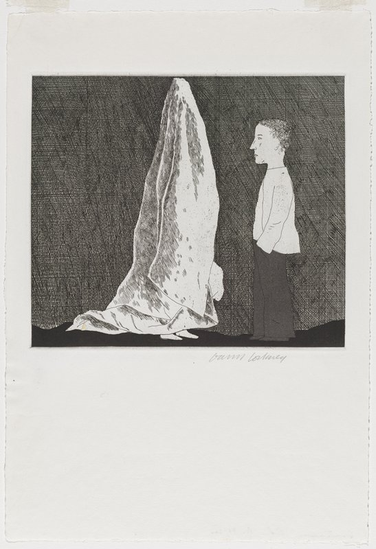 black and white etching of a dark, non-descript room; figure covered with a white sheet stands to the PL of a short, male figure with dark pants and a white shirt, PL hand in the pocket of his pants