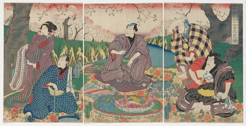 three separate sheets, unmounted; female figure standing at L behind seated male figure in blue kimono at far L; central seated male figure in striped kimono holding sake glass looking L; seated behind bowl with pink fish and colorful vegetables; two male figures at R are looking L, one is getting up, the other is seated; pink sky with hints of white flower blossoms in background