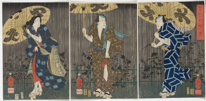 separated triptych; three figures standing a downpour against gray background, each clutching large umbrella; female figure at L looking back over PL shoulder; male figure standing at C looking behind him to R; male figure at R facing L, holding umbrella; shadows of blossoming plants in background