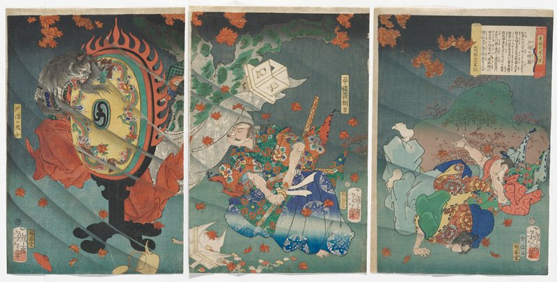 demon at right with long dark hair, peering around an oval element with red decorative flames around it on a black stand at left; man at center dressed in predominately blue, rust red and green, leaning his head forward toward demon, holding his sword in its sheath at his PL side; two fallen figures, covering their heads, at right; blowing fall leaves throughout