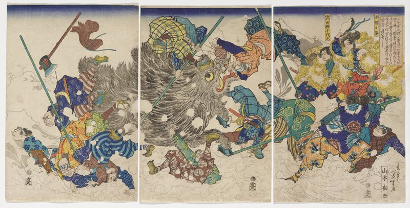 three sheets; cartoonish animal with long grey fur, large yellow eye, yellow teeth with long fangs and blue hooves at center, throwing off man men who are falling and flipping in every directions; men in URQ wear yellow furs (?); mountains in background covered in snow; snow in foreground, with snowballs flying in front of animal and figures