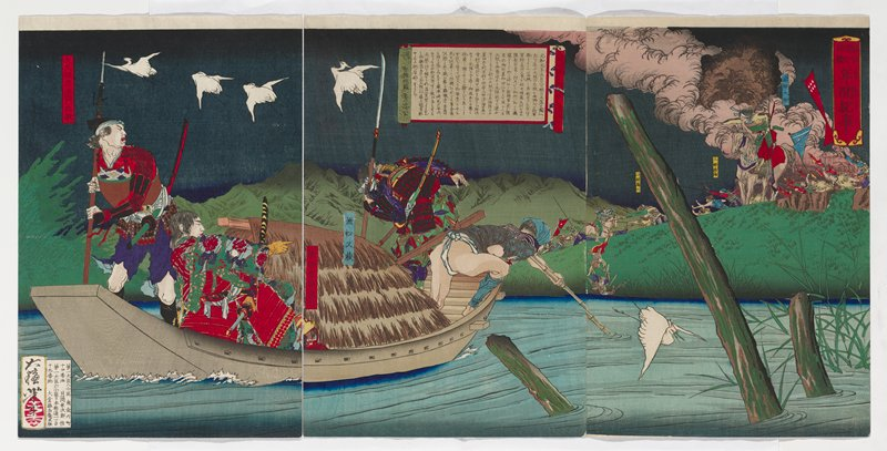 triptych with right and center images pasted together; all three panels attached to backing paper; four figures in a boat with a thatch-roofed shelter at the center; seated pointing man to left of shelter wears red armor and a green kimono with blue and red patterning; standing man at left wears purple pants and sleeves with red and black checks; man in red and black armor to right of shelter; man wearing white loincloth at right front of boat, rowing with a bamboo pole; four flying crantes at top left; crane to right of rowing man; battle on far shore wtih clouds of pink smoke in URC, man on horseback and figures with banners