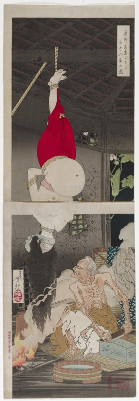 two sheets configured vertically; topless wrinkled old woman seated at bottom, sharpening a knife, looking up at a heavily pregnant topless woman with long hair wearing a red skirt, tied by her ankles, hanging upside down from a ceiling rafter