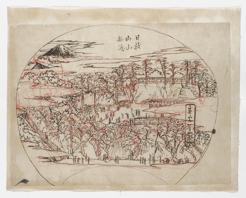 drawing in black and red for a fan; view of tiered landscape; man trees; long stairway at left; waterfall at center bottom; covered walkways; figures throughout; Mount Fuji in ULC