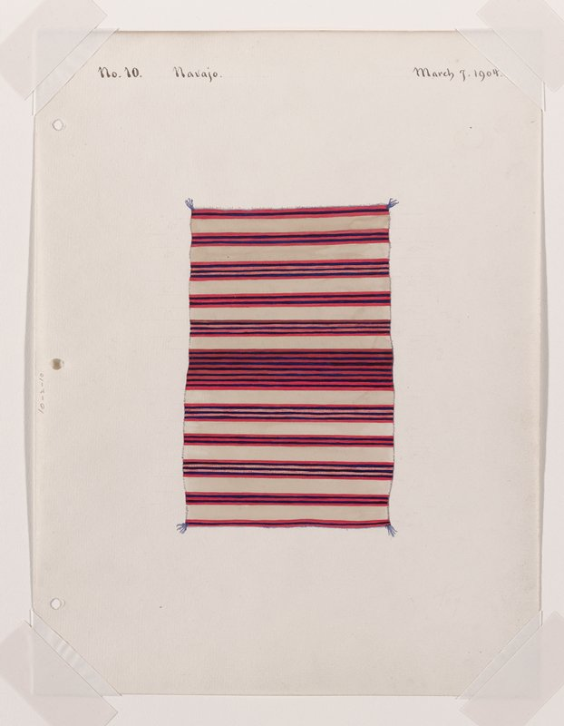 depiction of textile with thick band of thin blue and red stripes across C; white stripes separated by thinner red and blue stripes