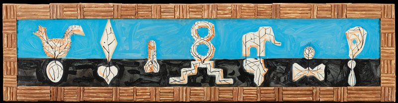 eight shapes including a bird, diamond, and elephant apparently sprouting from the ground from other shapes, including an egg and heart; background of blue sky and black earth; frame made of short wooden pieces arranged in alternating pattern