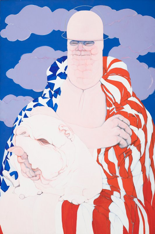 image of a man with oblong head, wearing a clear helmet, scrunched textured face, shirtless, with American flag draped around his shoulders; flesh-colored cartoon-like dog in LLQ; bright blue sky with violet clouds in background