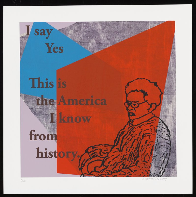 larger cartoonish elderly figure seated on chair facing L at LRC; grainy wood-grain background in gray, with bolder orange and blue overlapping shapes; text reads: I say / Yes / This is / the America / I know / from / history.