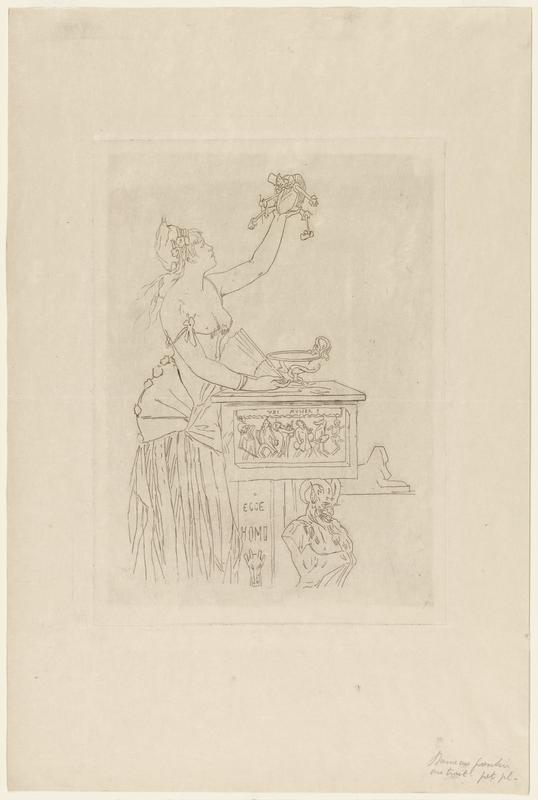 """line etching of a standing female figure, bare chested holding a doll-like figure in PL hand, and a fan in PR hand; standing next to a carved dais with a chalice on the top; words, """"ECCE HOMO"""" carved into the side, along with a goat-like face under the text; carved humanoid figure/ bust with horns placed on the right; loosely sketched sphinx on lower right edge"""