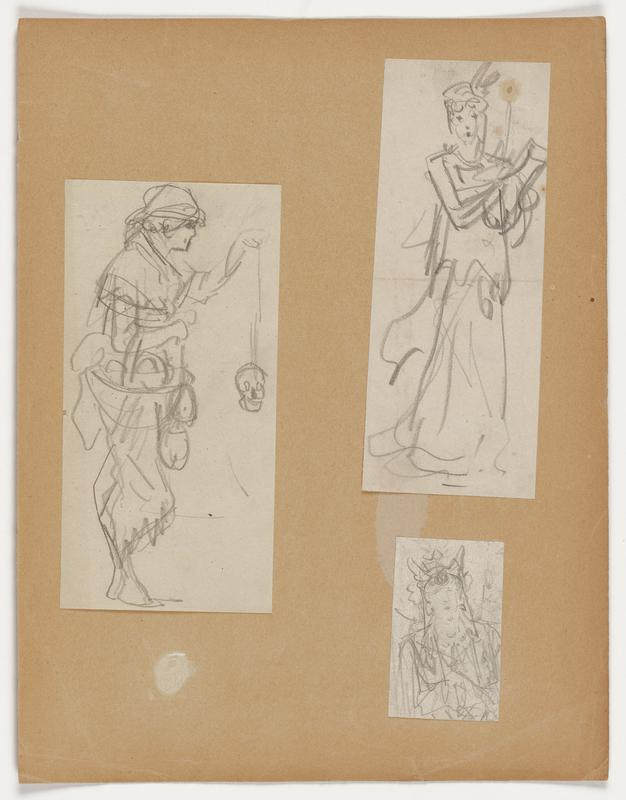 Three figure drawings mounted to a sheet of paper: a. loosely drawn figure with several layers of clothing; wears a scarf on head and holds a rope with a skull on the end in PL hand b. loosely rendered image of a female figure wearing a long, flowing garment; arms raised toward PL, holding an object in both hands c. loosely drawn figure viewed from the torso up to head; wear an ornate headpiece or crown with two prongs and a diamond shape in the center