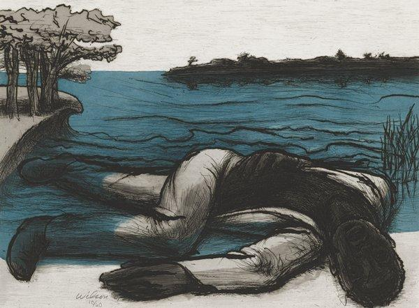 black man lying on shoreline with leg partially underwater, wearing white garments; island in background; trees at left