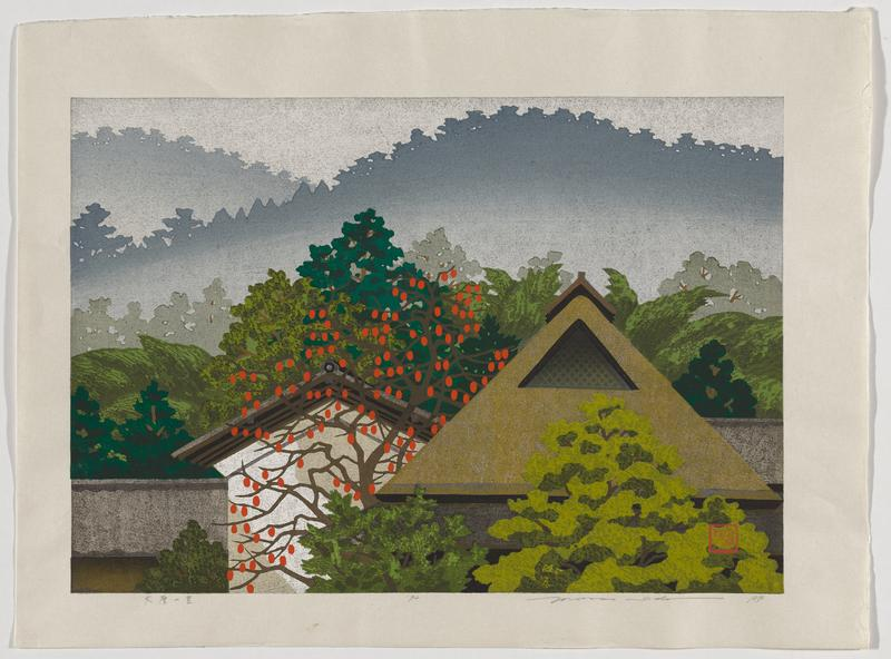 colorful landscape scene with rooftops in bottom center and in LRQ; cherry tree in center between two houses; trees and greenery surround houses, with shadowed, tree-lined hills in background; Japanese characters written in pencil in LLC; red seal in LRC of image