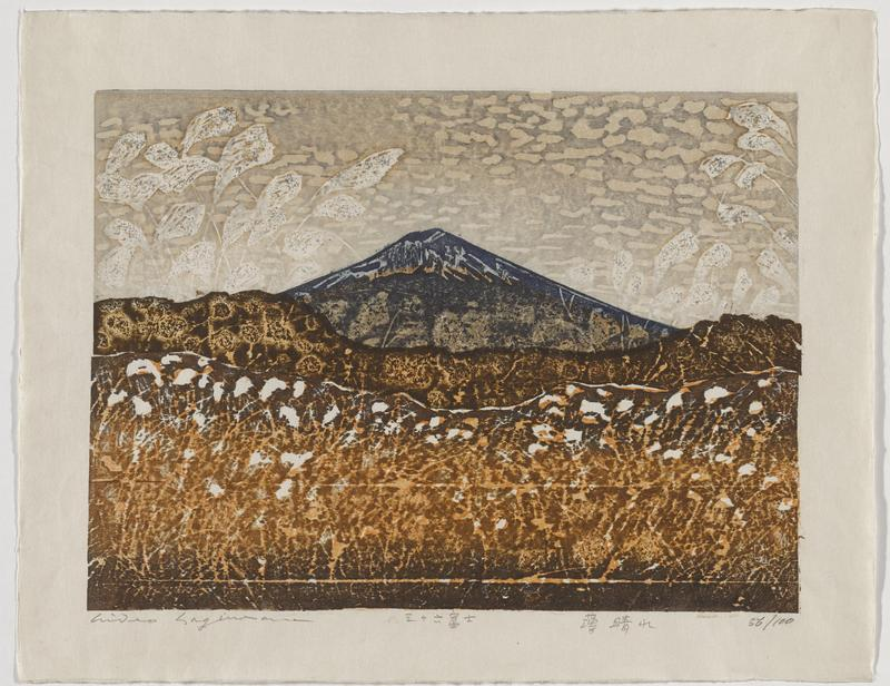 abstracted image of Mount Fuji with waving grass-like elements in white over image throughout; foreground is tan and orange; dark blue and grey mountain; tan and pale grey sky