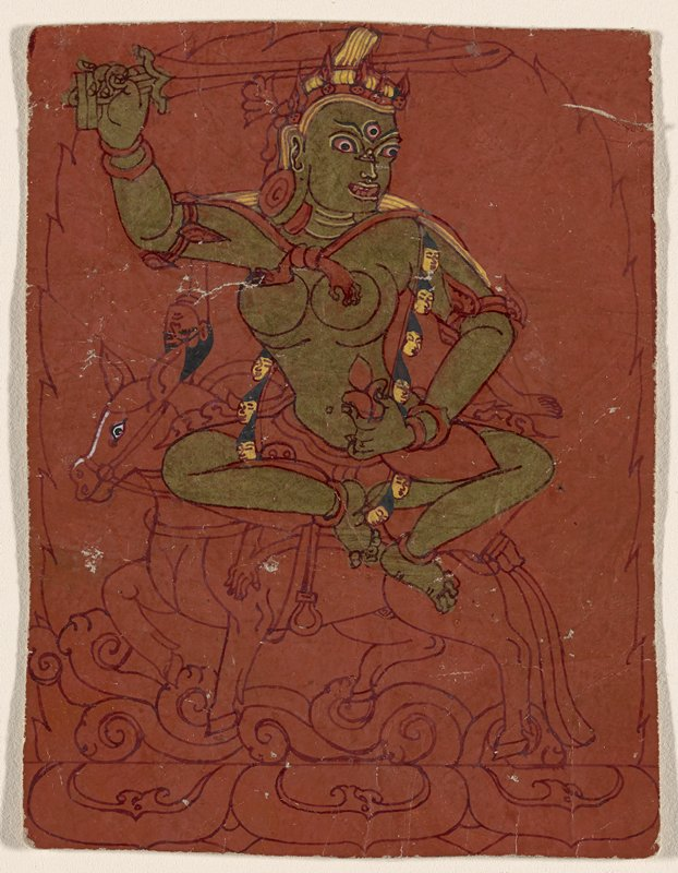 drawing of a female figure with a third eye and gold skin, seated cross-legged on a horse, brandishing a sword; red ground on front; 9 lines of text, in red, on back