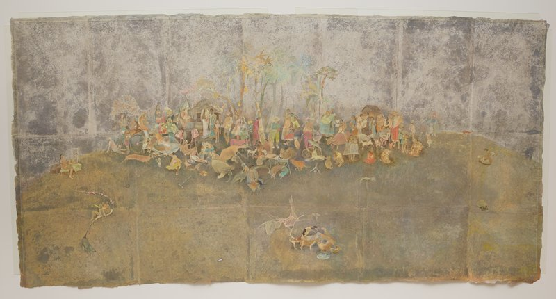 joined separate sheets of handmade paper; muted, mottled medium greys at bottom and lighter greys at top; central group of figures of all ages--some standing, some seated--and animals; figures include two people riding an ox, a man with very long white whiskers holding a cat and a bird, a child on an alligator, three girls on a swing, a pregnant woman with a child drawing a face on her belly, and a man on a bicycle; some trees behind figures; group of dogs at bottom center; lost flip-flop sandal to left of dogs; children riding on a cloth tied to the tail of a pig, trailing dolls, shoes, and other objects, in LRC; tortoise in LRC; older man lying on his back playing with a child above tortoise