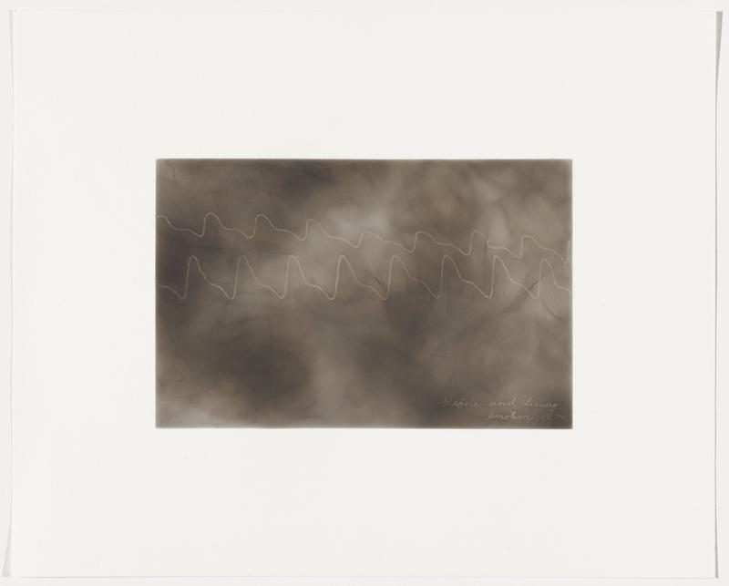 smoky grey background; two white zigzagging lines becoming closer together near right edge of image; top line has slightly shorter peaks and valleys