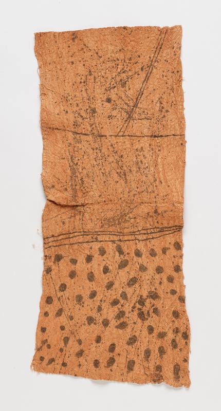 rectangular panel; medium brown with black designs; three sections--two with only splatters and drips, one with splatters and drips along with larger black dots